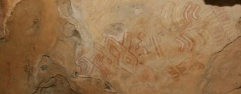 Abstract designs pictograph, located on West Mountain, Hueco Tanks