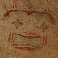 Starry Eyed Man pictograph, located on East Mountain, Hueco Tanks